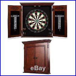 18in Dartboard Cabinet Set Self-Healing Elegant Wood 6 Steel Tipped Darts Marker
