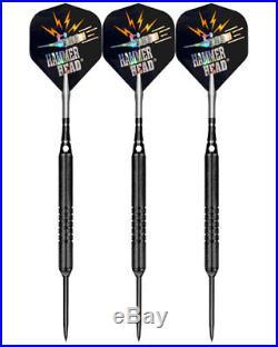 24 Grams Bottelsen Hammer Head Black Finish Edge Grip 1/4 Barrel Steel Tip Darts