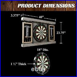 40 Dartboard Board Set & Cabinet LED Lights 6 Steel Tip Darts and Flights