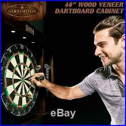 40 Dartboard Cabinet LED Lights Steel Tip Darts Brown Black