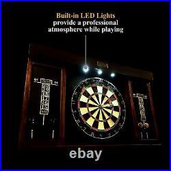 40 Dartboard Cabinet, LED Lights, Steel Tip Darts, Brown/Black