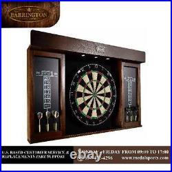 40 Dartboard Cabinet LED Lights Steel Tip Darts Sports Play Fun Brown/Black