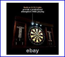 40 Dartboard Cabinet Set, LED Lights, Steel Tip Darts, Brown/Black