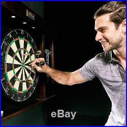 40 Dartboard Cabinet With Led Light Elegant Wood 6 Steel Tipped Darts Marker