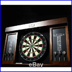 40 In. Dartboard Cabinet 6 Steel Tip Darts Dart Board LED Light Set Mark Eraser