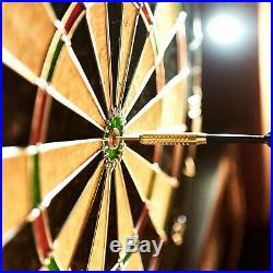 40 Inch Dartboard Cabinet LED Light Steel Tip Darts Flights Indoor Games