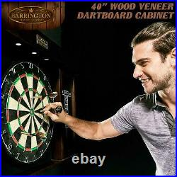 40 Inch Dartboard Cabinet Set Wood Dart Game LED Lights Steel Tip Darts Cricket