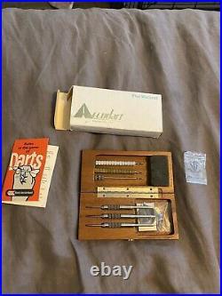 Accudart The VARIANT Adjustable Weight Steel Tip Darts, Original wood case Rare