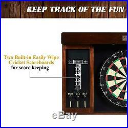 Barrington 40 Dartboard Cabinet, LED Lights, Steel Tip Darts, Brown/Black
