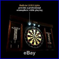 Barrington 40 Dartboard Cabinet with LED Lights and Six Steel Tip Darts, Brown/