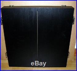 Black Dart Board Dartboard & Cabinet Kit Steel Tip Darts NIB