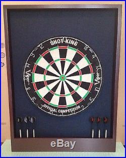Black/Mahogany Colored Dartboard Cabinet withShot King Board, Darts & Dart Storage