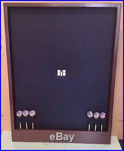 Black/Mahogany Colored Dartboard Surround Cabinet withDart Display and Storage