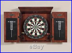 Bristle Dart Board Cabinet Wall Mounted Complete Set 6 Steel Tip Dart Scoreboard