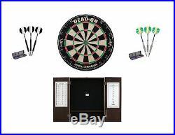 Bristle Dartboard + Espresso Steel Tip Cabinet + Black/Prism Darts 22 grm