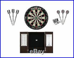 Bristle Dartboard + Espresso Steel Tip Cabinet + Sinister Tungsten Darts