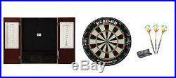 Bristle Dartboard + Mahogany Steel Tip Cabinet + Rainbow Tungsten Darts