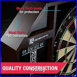 Bristle Dartboard Self-Healing Sisal Board Cabinet LED Light 6 Steel Tip Darts