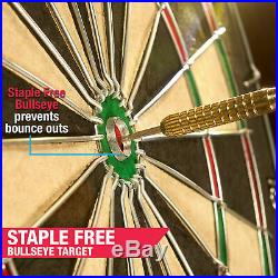 Bristle Dartboard Self Healing Sisal Board Cabinet LED Light 6 Steel Tip Darts