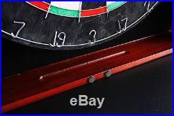 Centerpoint Solid Hardwood Dart Board Cabinet Set Steel Tip Darts Dartboard Game