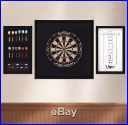Championship Wood Framed Dartboard Backboard Set Mahogany STEEL TIP DARTS