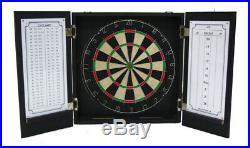 Chicago Blackhawks Black Dart Board Dartboard & Cabinet Kit Steel Tip Darts