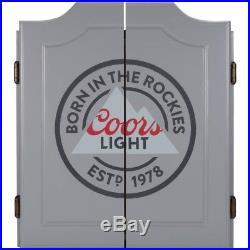 Coors Dart Board Set with Cabinet 6 Steel Tip Darts and Sisal Fiber Dartboard