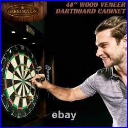 Dart Board Cabinet Set Steel Tip Darts Set Professional Game Room Bar LED Lights