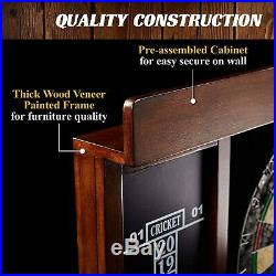 Dart Board LED Light Set 40 Inch Mark Eraser Dartboard Cabinet 6 Steel Tip Darts