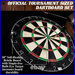 Dart Board Tournament Sized Solid Wood Cabinet Set With 6 Steel Tip Darts