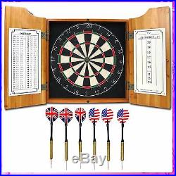 Dartboard And Cabinet Set Steel Tip Darts Game Room Solid Wood Indoor