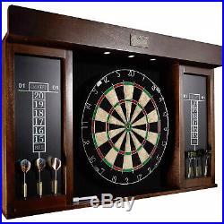 Dartboard Cabinet 6 Steel Tip Darts Dart Board LED Light Set 40 Inch Mark Eraser