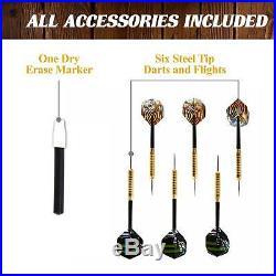 Dartboard Cabinet 6 Steel Tip Darts Dart Board LED Light Set Mark Eraser 40 Inch