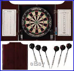 Dartboard Cabinet Dart Game Set Board Box Darts Wood Fiber Steel Tip Shot Viper