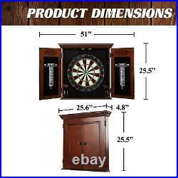 Dartboard Cabinet Set Preassembled 6 Steel Tip Darts for Home, Room, or Pub Area