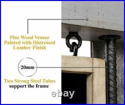 Dartboard Cabinet Set Steel Tip Darts Pine Wood Veneer Frame Pre Assembled Gray