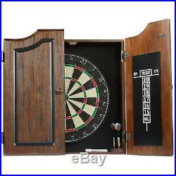 Dartboard Cabinet Set with 6 Steel Tip Darts, High Quality Self-healing Sisal Bo