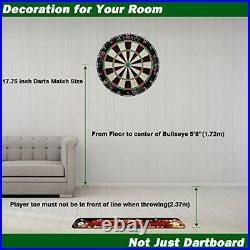 Dartboard Set 6 Pcs 20g Steel Tip Darts & 12 Flights with Rotating Number Ring
