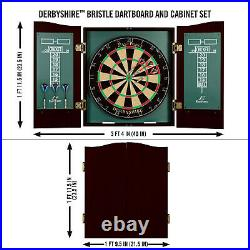Derbyshire Bristle Dartboard Natural Sisal Fiber With 6 Deluxe Steel Tip Darts