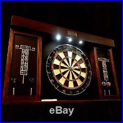 Elegant Wood Dartboard Vintage Cabinet Tipped Steel Darts Set & Marker LED Light