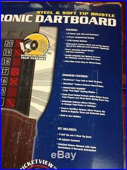 HALEX Electronic Dartboard Soft & Steel Tip Bristles Wood Cabinet Cricketview