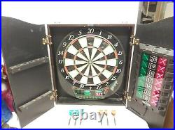 Halex Electronic Cricket Dartboard STEEL & SOFT TIP CAPABLE in Wood Cabinet