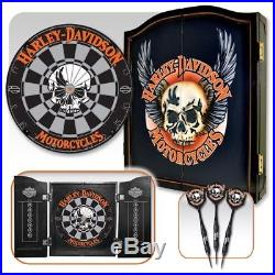 Charmant Harley Davidson 3D Skull Dartboard Kit With Cabinet Black Coated Steel Tip  Darts