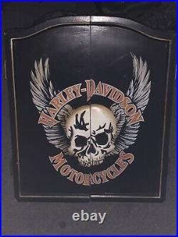 Harley-Davidson 3D Skull Dartboard Kit with cabinet Black coated steel Tip Darts