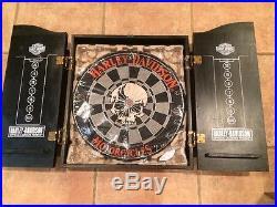 Harley Davidson Dart Board Skull Logo Steel Tip Wood Case Wall Mount Read  Descri