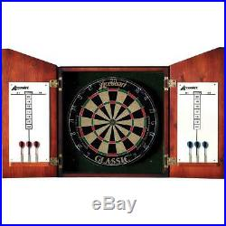Harvard Accudart Union Jack Dartboard Cabinet and Bristle Dartboard Includes 6