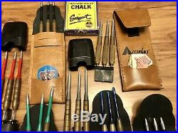 Lot Of 24 Vintage Darts W. Flights & 8 Cases Brass W. Steel Tip, Accudart & DP