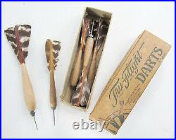 Lot Of 5 Antique Wood & Steel Turkey Feather Darts, Tru-Flight In Original Box