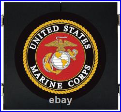 Marine Corps Marines USMC Dart Board Dartboard & Cabinet Kit Steel Tip Darts