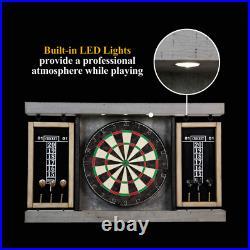 NEW 40 Dartboard Cabinet & Dart Board Set LED Lights 6 Steel Tip Darts Flights